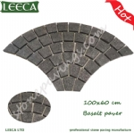 Black basalt paving stone fan cobblestone for sales